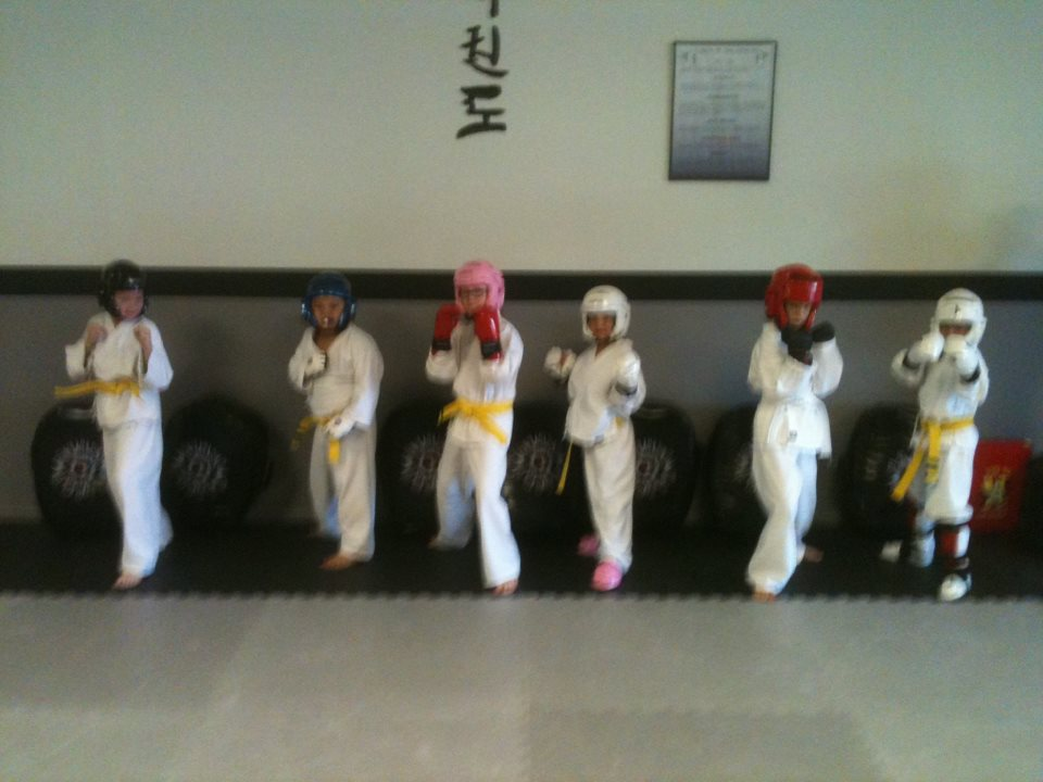 Students wearing sparring gear