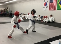 Young students sparring