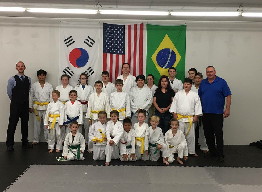 Mr. Clemmer with a group of Taekwondo students